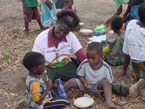 Feeding the children in Malawi